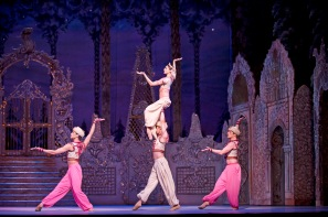 THE NUTCRACKER ; Music by Tchaikovky ; Choreography by Ivanov and Wright ; Nicol Edmonds, Ryoichi Hirano, Melissa Hamilton and Johannes Stepanek (in the Arabian Dance) ; Produced by Peter Wright ; Designed by Julia Trevelyan Oman ; Lighting Design by John B Read ; The Royal Ballet ; At the Royal Opera House, London, UK ; December 2013 ; Credit: Tristram Kenton / Royal Opera House / ArenaPAL ;